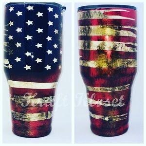 American Flag Yeti/ HOGG tumbler, Custom Made